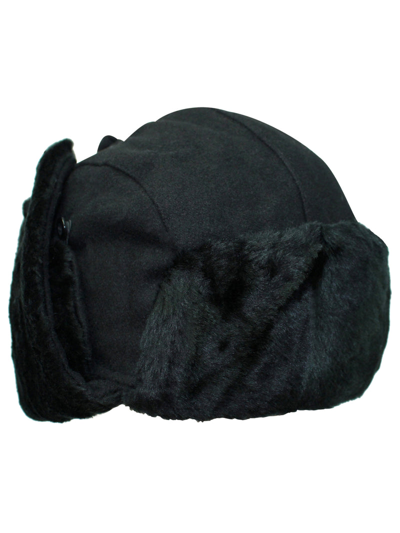 Black Wool Trapper Cap With Faux Fur Trim