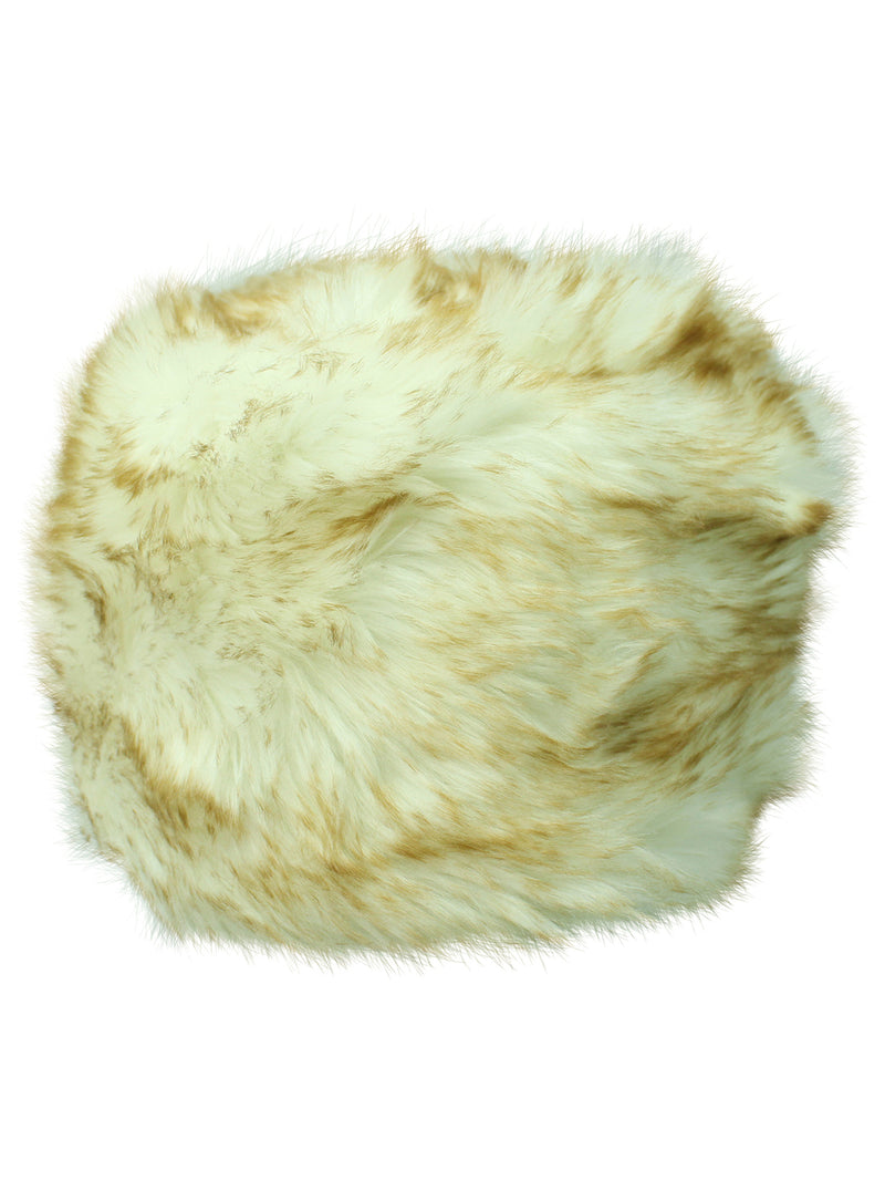 White & Brown Faux Fur Cloche Hat