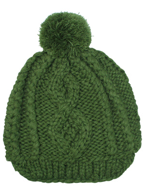 Stretchy Knit Newsboy Cap With Pom Pom