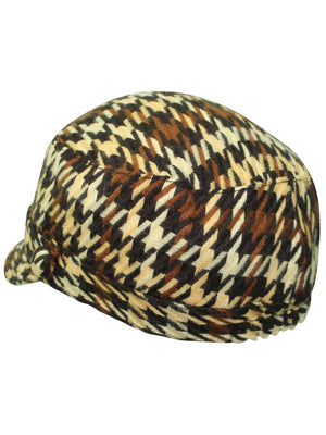 Houndstooth Plaid Cadet Cap Hat