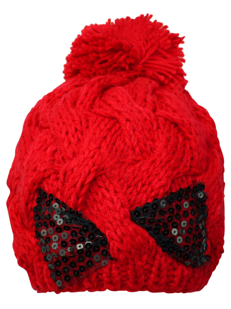 Knit Cable Braid Beanie Cap With Sequin Bow