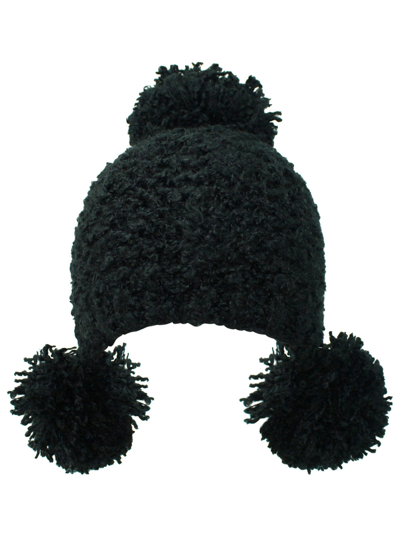 Plush Knit Triple Pom Pom Beanie Cap