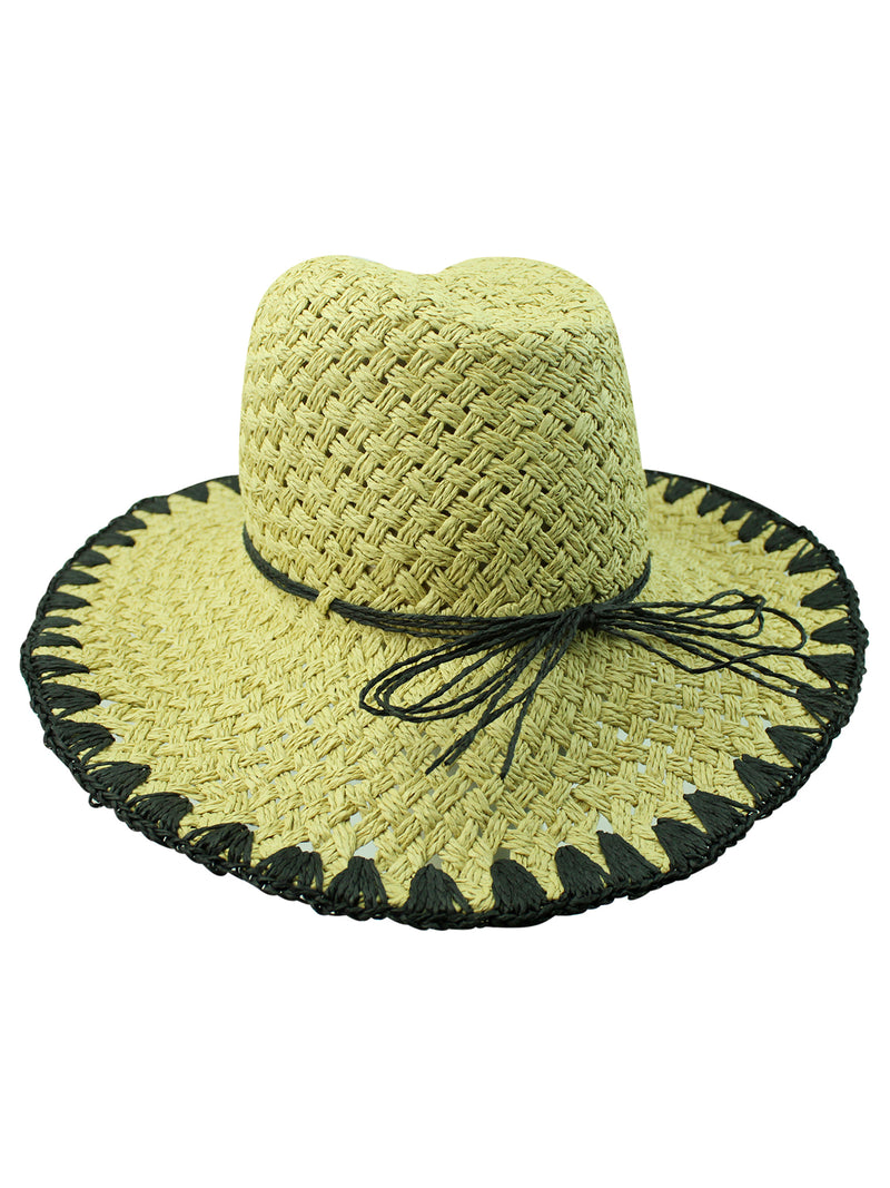 Paper Braid Cowboy Hat With Whipstitch Edging