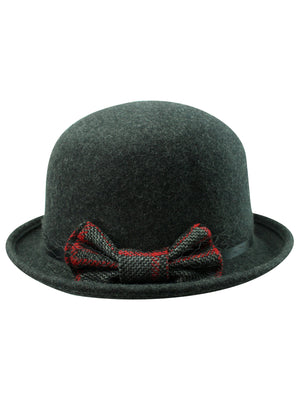 Wool Derby Hat With Contrasting Bow