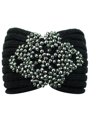 Black Knit Headband With Beaded Detail
