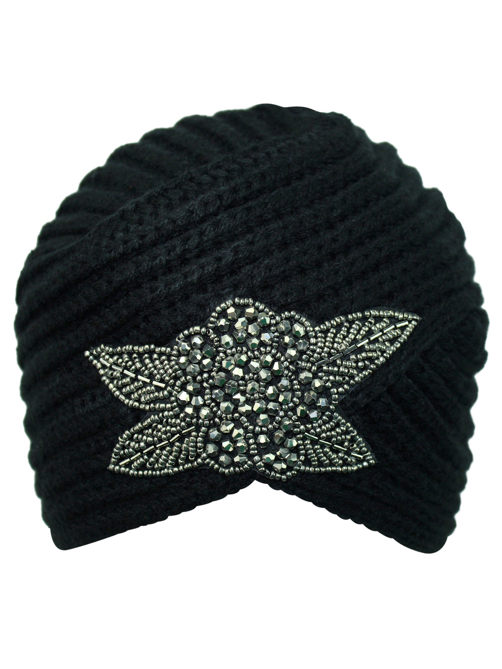 Winter Knit Turban Beanie With Beaded Flower