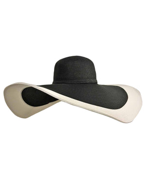 Black & White Floppy Hat With Wide Brim