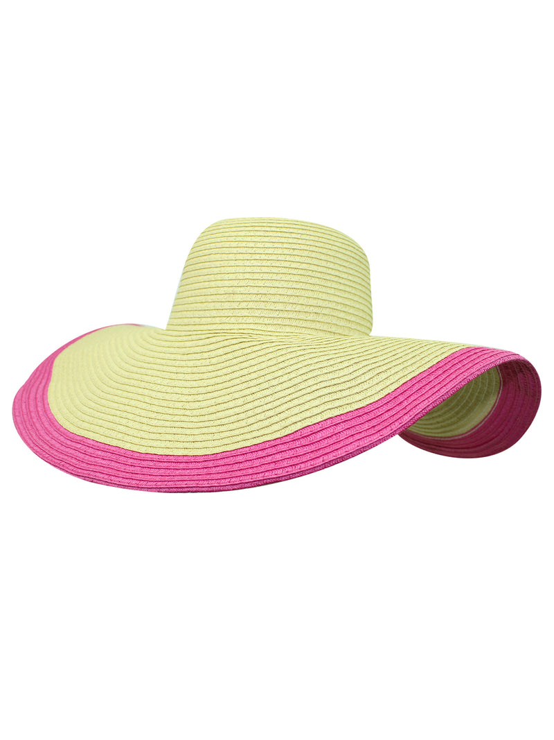 Fuchsia Trimmed Wide Brim Floppy Hat