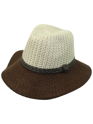 Two-Tone Beige & Brown Knit Fedora Hat