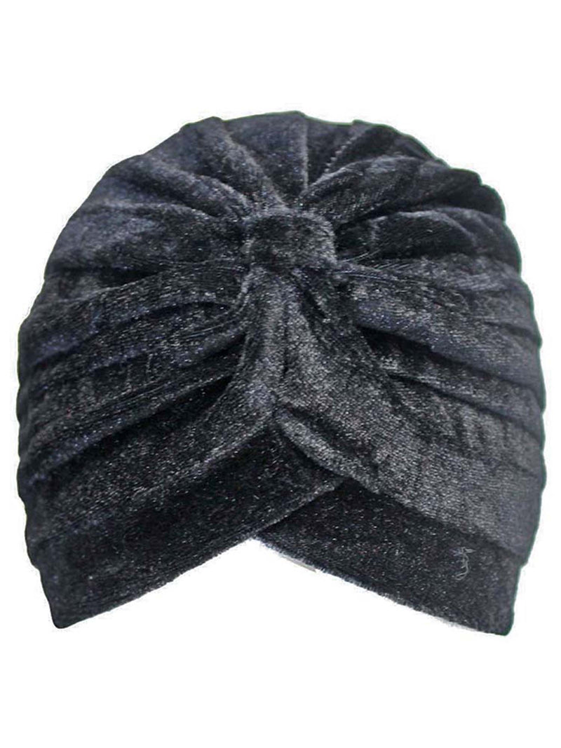 Pleated Velour Turban Head Wrap For Women