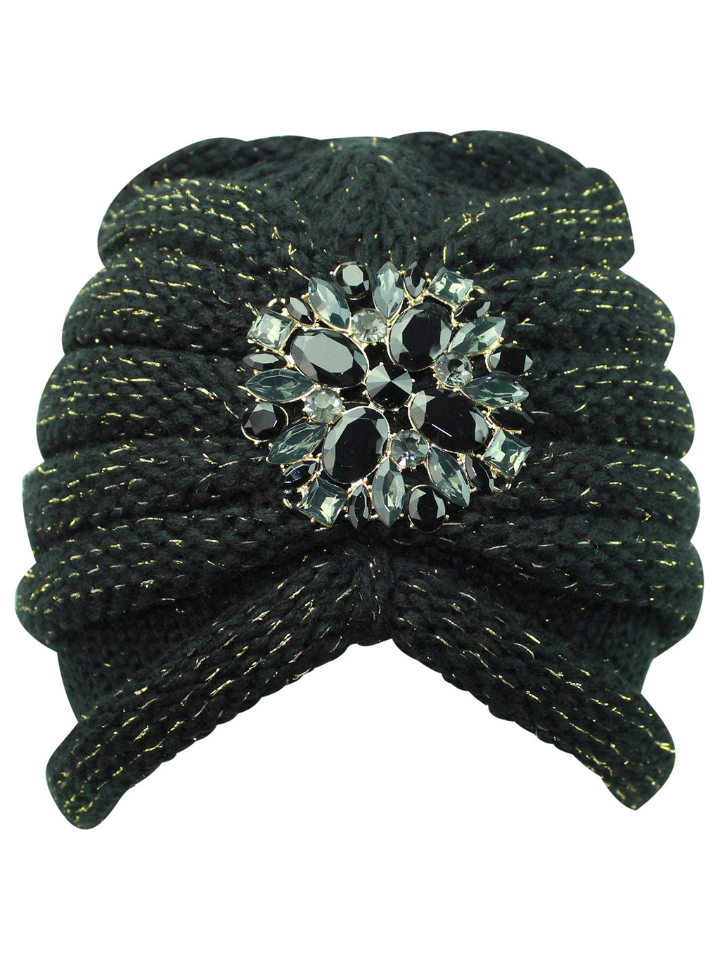 Knit Turban With Beaded Broach