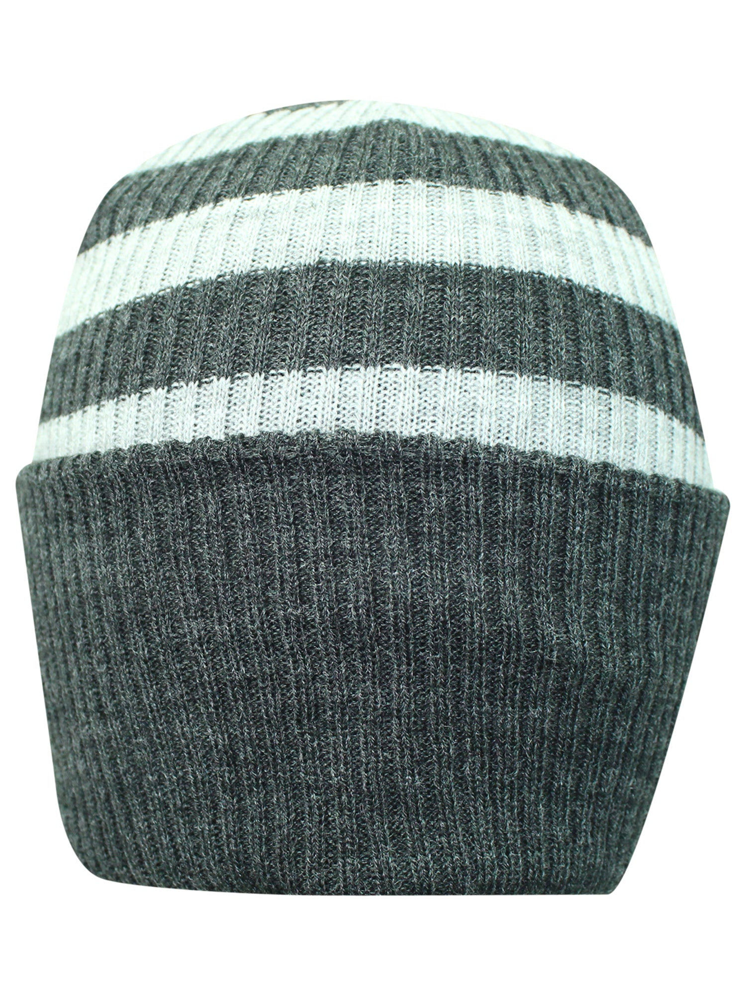 Light Gray Striped Mega Knit Slouchy Beanie Hat Cap