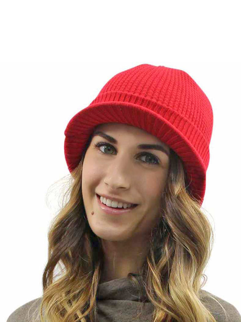 Thermal Ribbed Knit Beanie Hat With Visor