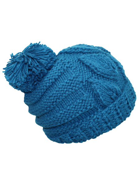Slouchy Winter Cable Knit Beanie Hat With Pom Pom Luxury