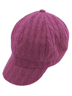 Twisted Cable Knit Newsboy Hat