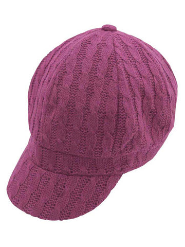Twisted Cable Knit Newsboy Cap Hat