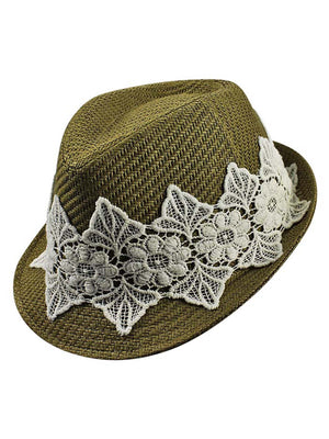 Olive Woven Straw Fedora Hat With White Lace Band
