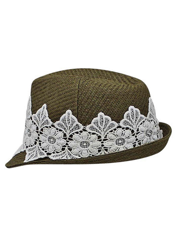 bdb860a1bf0 ... Olive Woven Straw Fedora Hat With White Lace Band ...