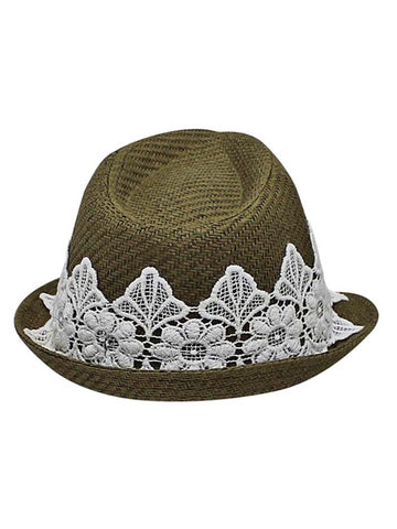 bc25182eae8 ... Olive Woven Straw Fedora Hat With White Lace Band