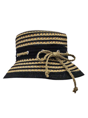 Straw Bucket Sun Hat With Nautical Rope Trim