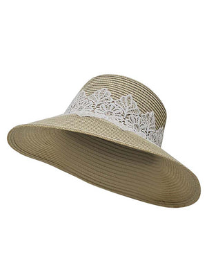 Natural Lace Trim Wide Brim Bucket Sunhat