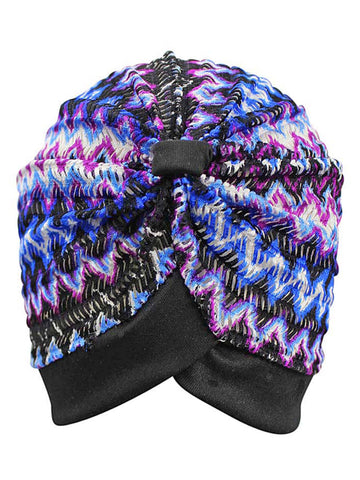 Blue Purple & Black Multicolor Chevron Print Turban Head Wrap