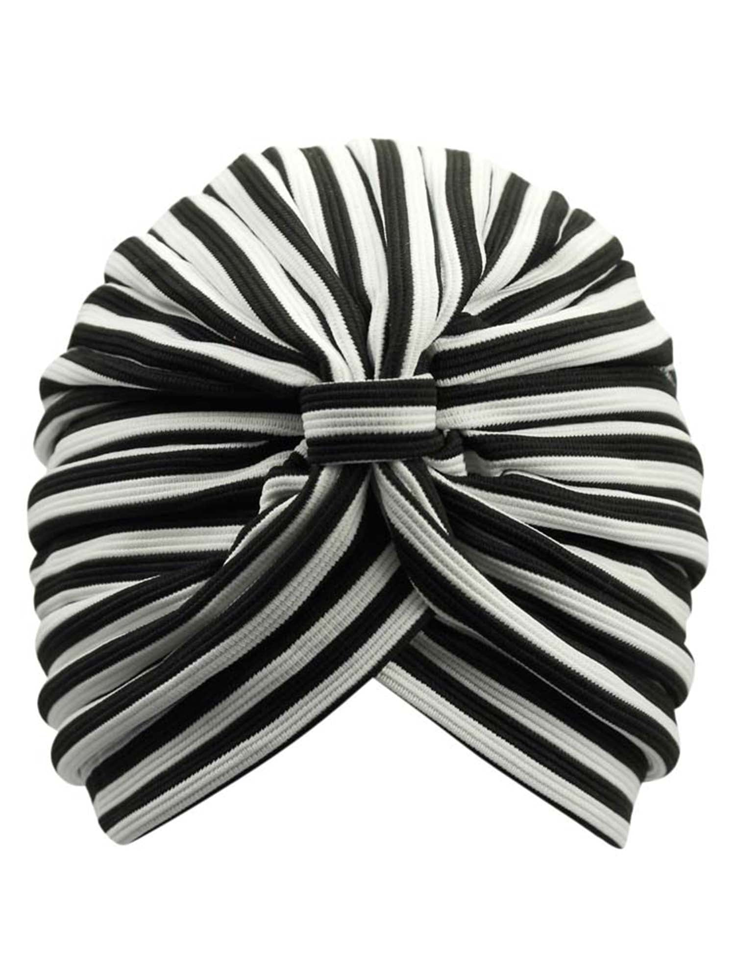 Striped Fashion Turban Head Wrap With Front Knot