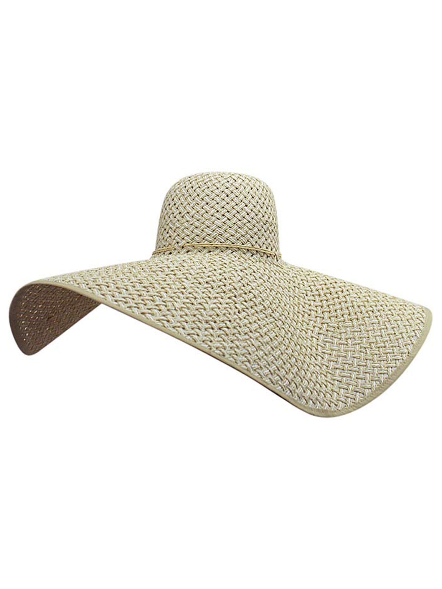 Cream & White Ultra Wide Brim Straw Floppy Hat