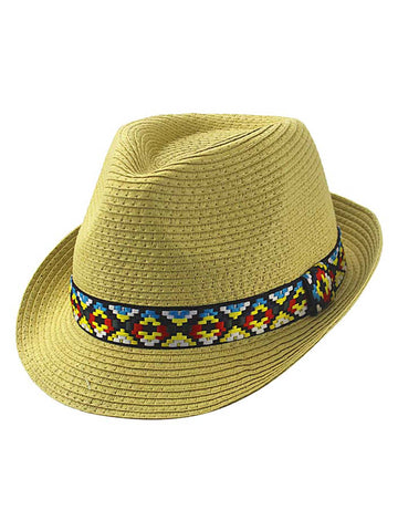 Woven Straw Fedora Hat With Aztec Band