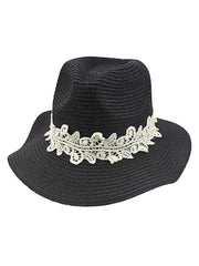 Woven Straw Panama Hat With Lace Hat Band
