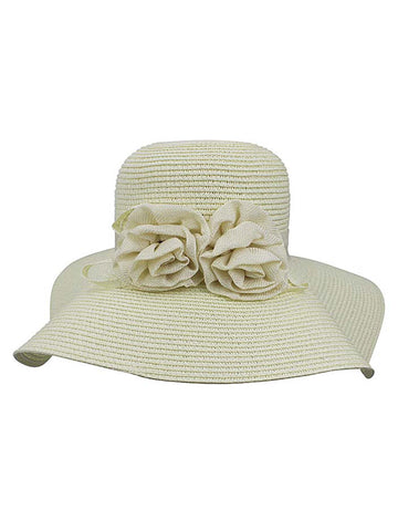 Ivory White Floppy Hat With Floral Rosette Trim