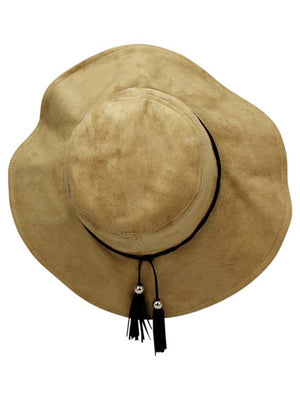 Faux Suede Bucket Hat With Tassel Hat Band
