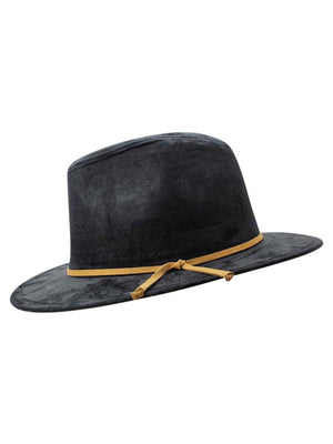 Faux Suede Pinch Top Panama Style Fedora Hat