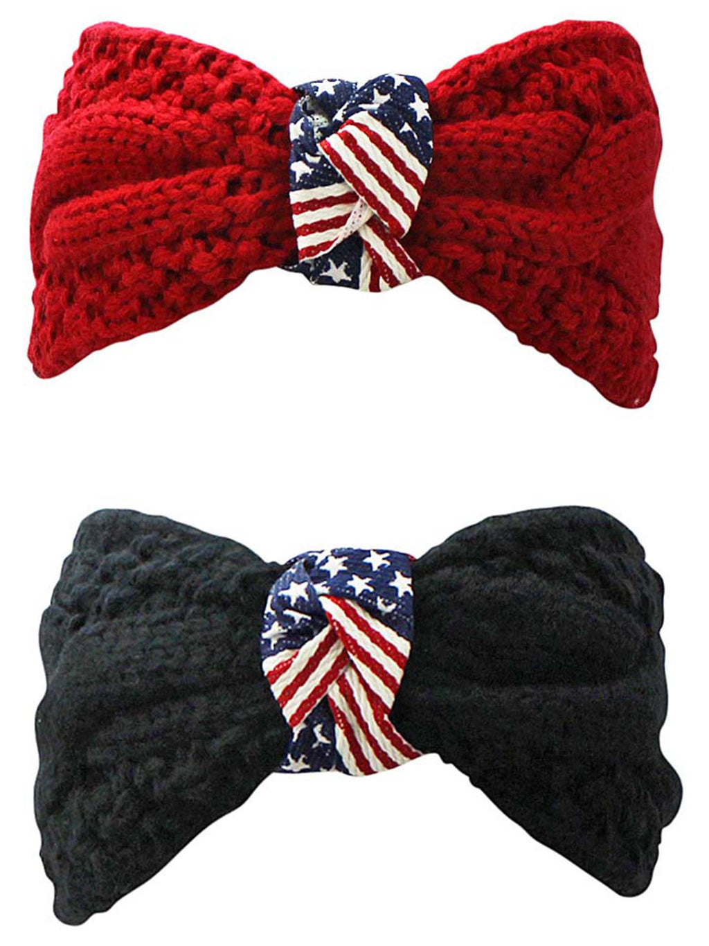 Black & Red 2-Pack Winter Knit American Flag Headbands