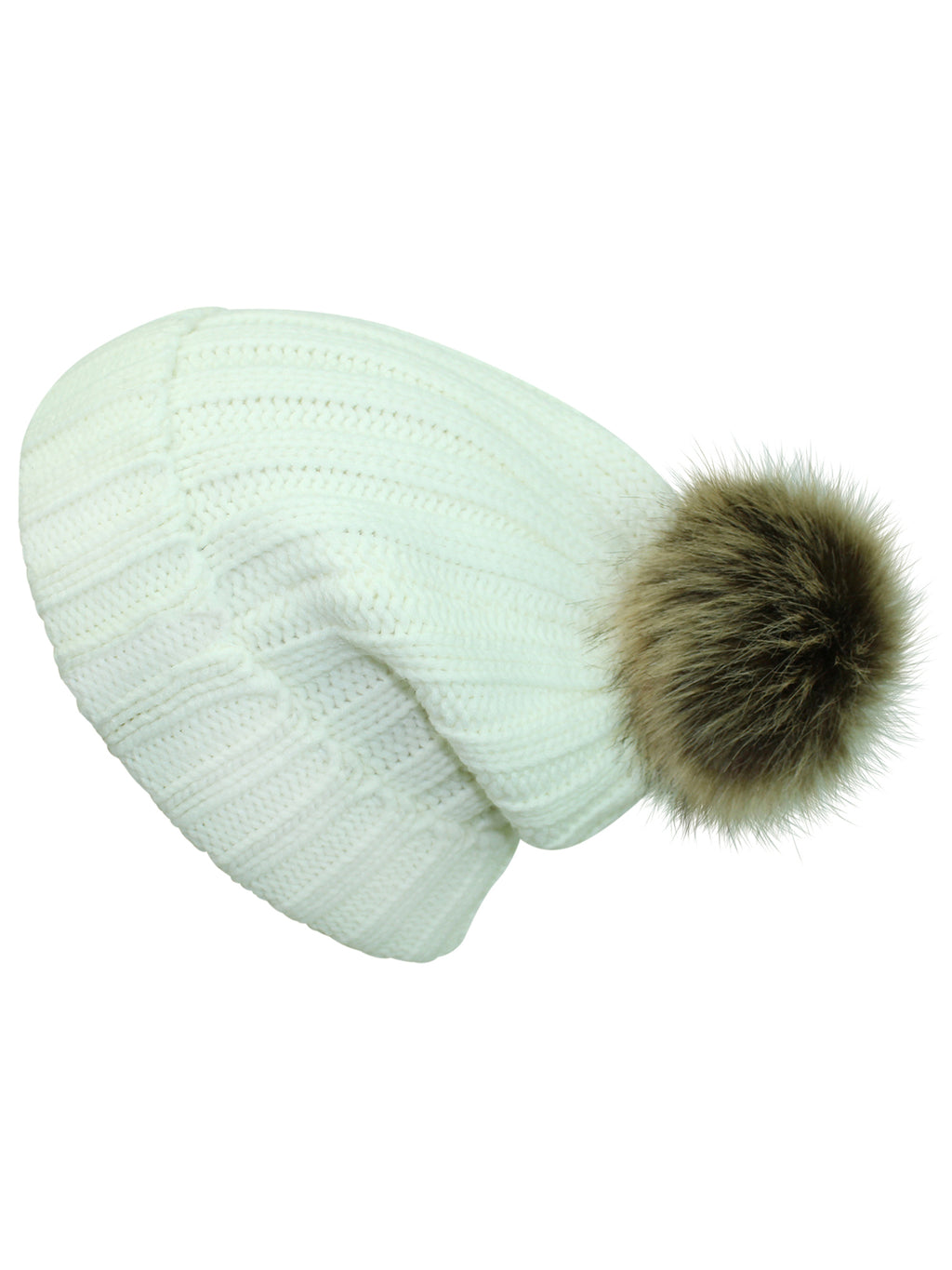 Posh Ribbed Knit Pom Pom Beanie Hat
