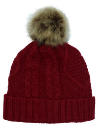 Chunky Cable Knit Beanie Hat With Pom Pom & Fleece Lining