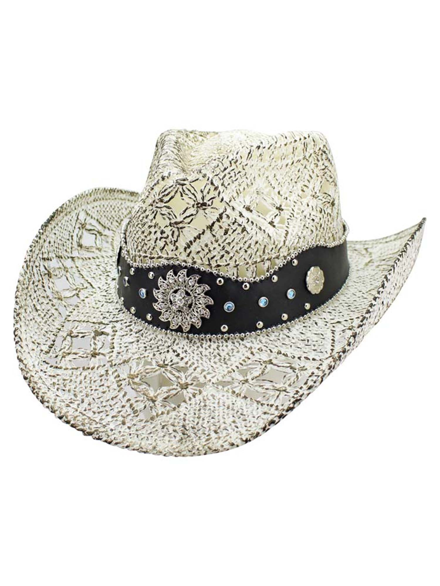 White Antiqued Straw Cowboy Hat With Jeweled Band