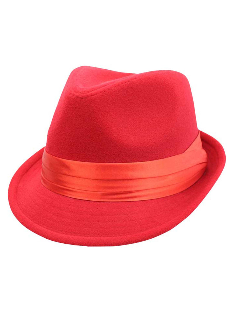 Red Wool Felt Fedora Hat