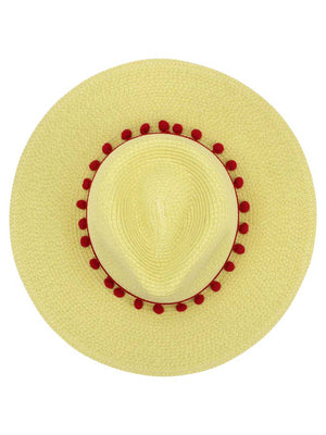 Straw Panama Style Sun Hat With Pom-Pom Trim