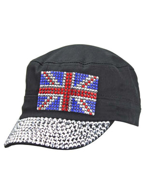 UK Shiny Rhinestone Studded Cadet Cap Hat