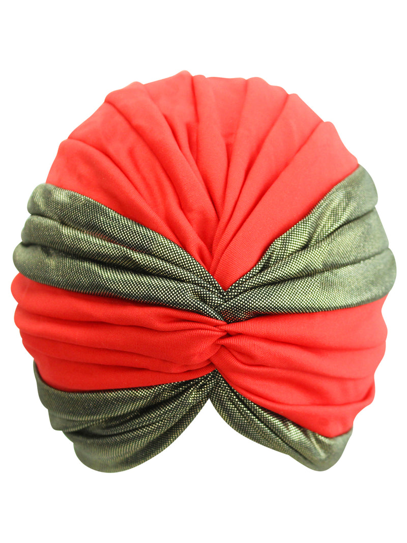 Red & Gold Turban Head Wrap