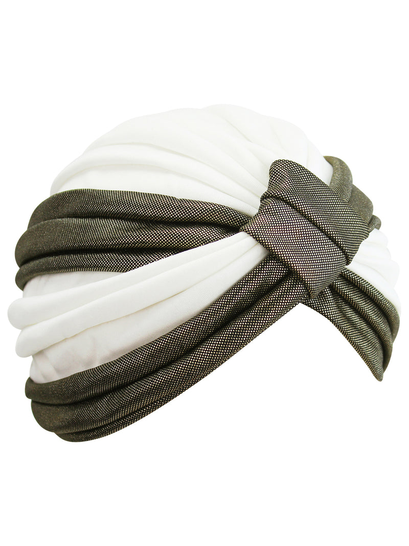 White & Gold Turban Head Wrap
