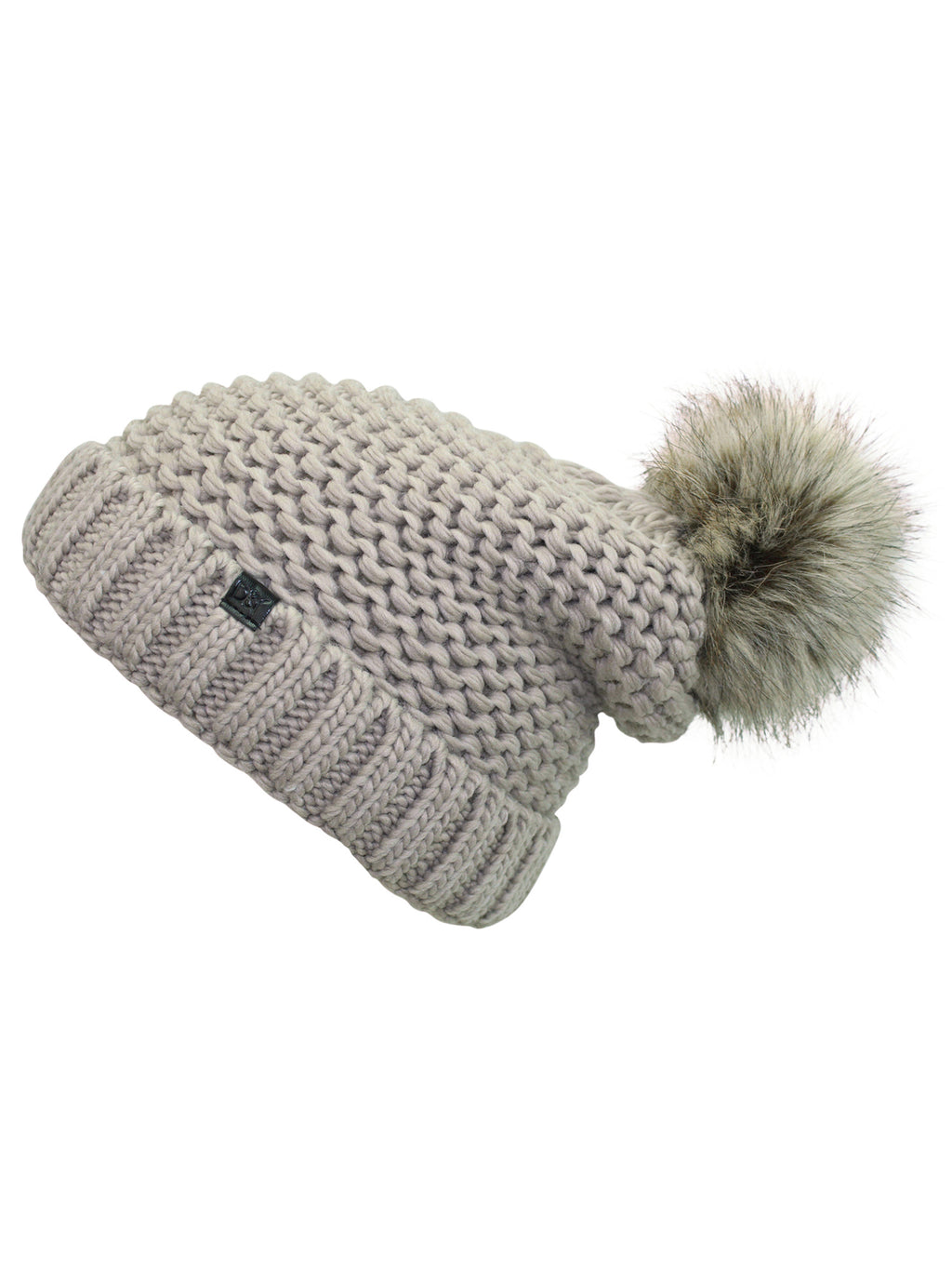Taupe Knit Beanie Hat With Faux Fur Pom Pom