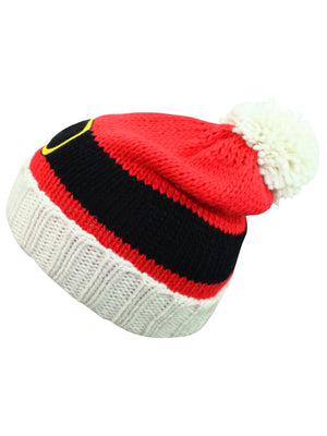 Red Knit Christmas Santa Beanie Hat With Pom Pom