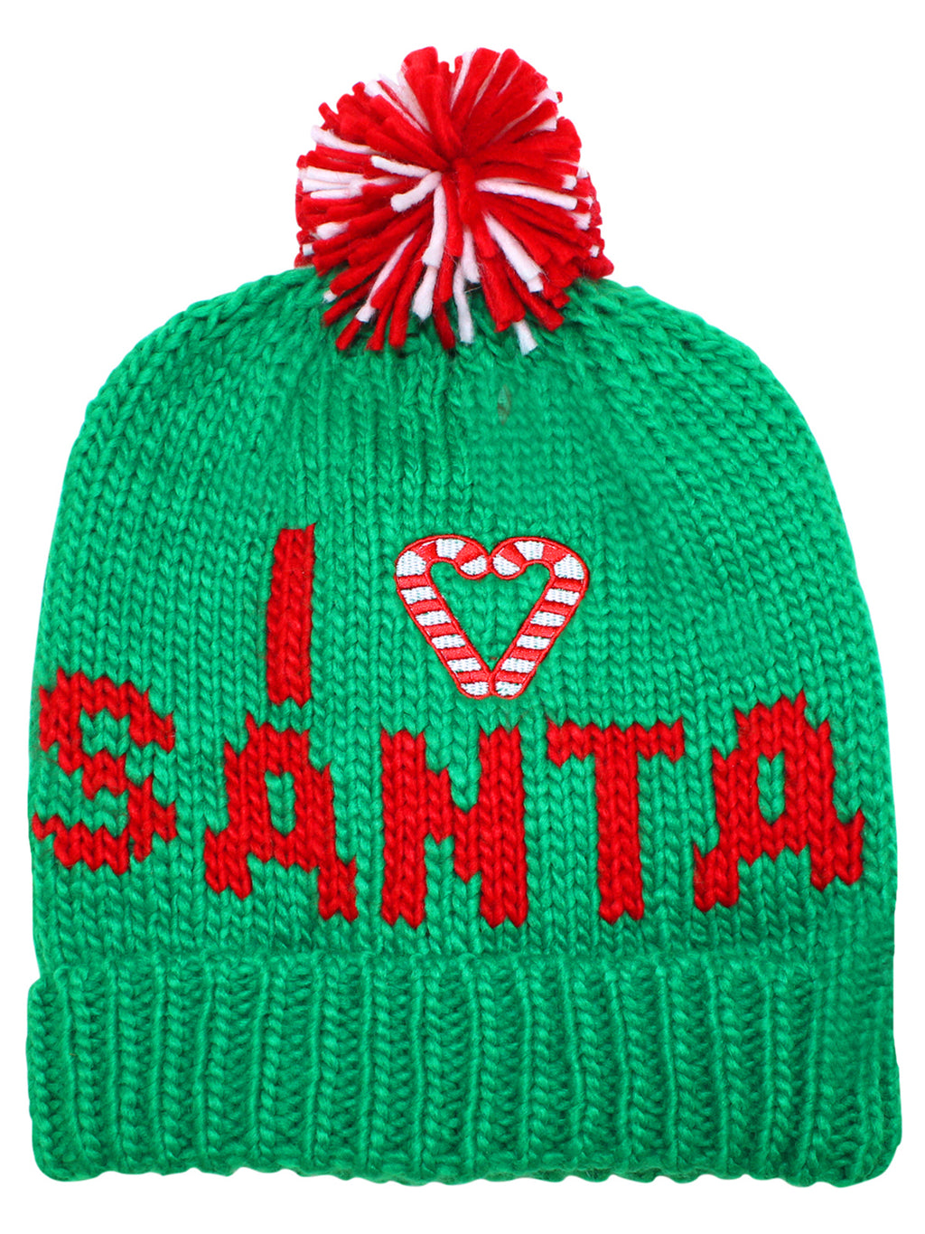 Green Knit I Love Santa Beanie Hat With Pom Pom