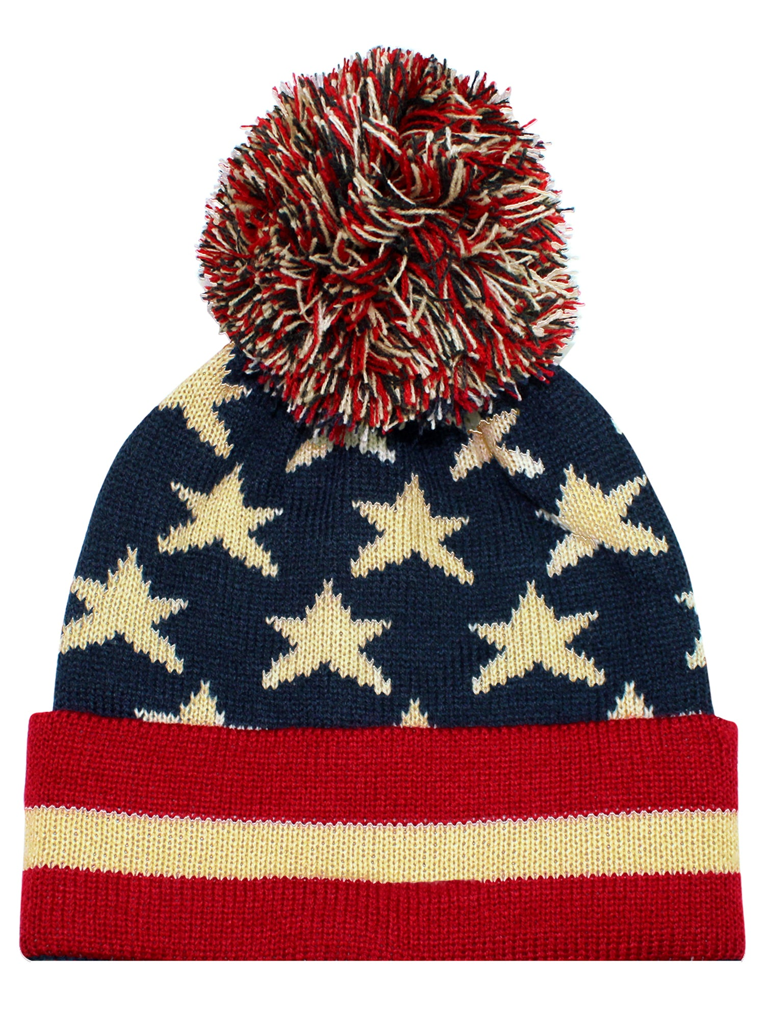 Vintage Red White   Blue American Flag Knit Pom Pom Beanie Hat ... 464acaa3d95