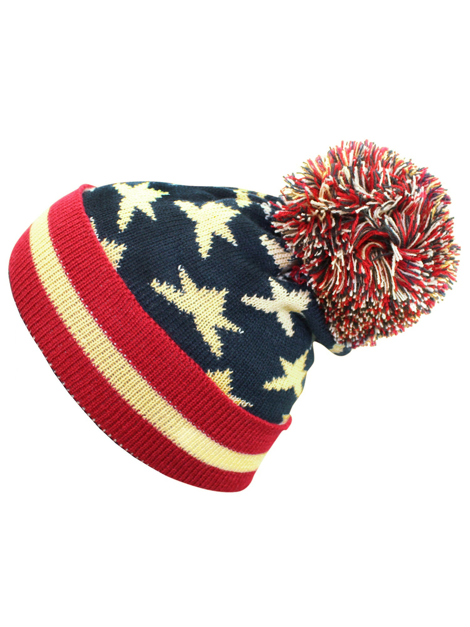 e86b24907a7 Vintage Red White   Blue American Flag Knit Pom Pom Beanie Hat ...