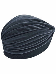 Silver Gray Velvet Turban Head Wrap