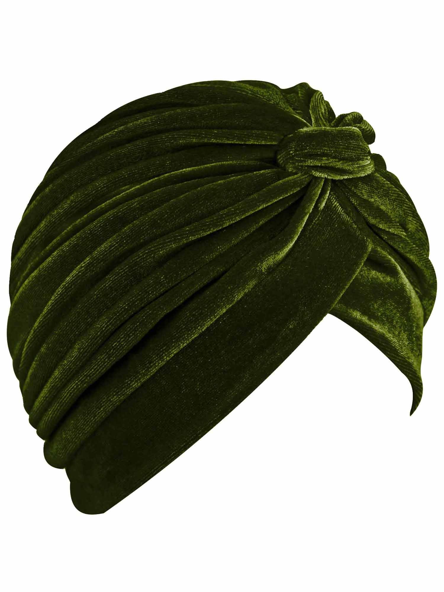 Olive Green Velvet Turban Head Wrap