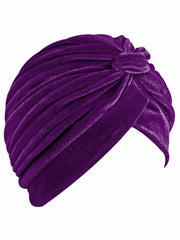 Purple Velvet Turban Head Wrap